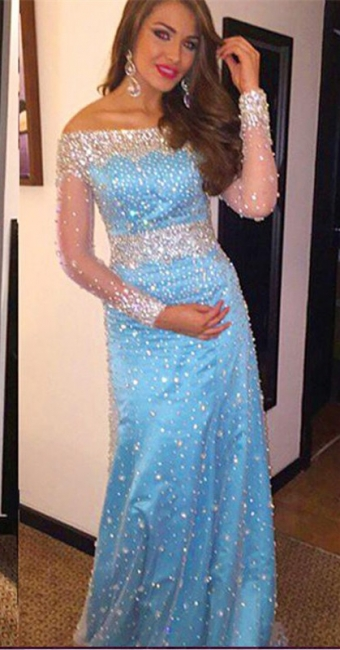 Sheath Bateau Light Blue Prom Dress with Beadings Long Sleeve Crystal Evening Gowns BA7543