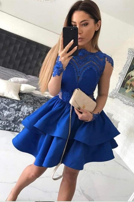 Royal Blue A-line Short Homecoming Dresses  | Long Sleeves Appliques Tiered Hoco Dress
