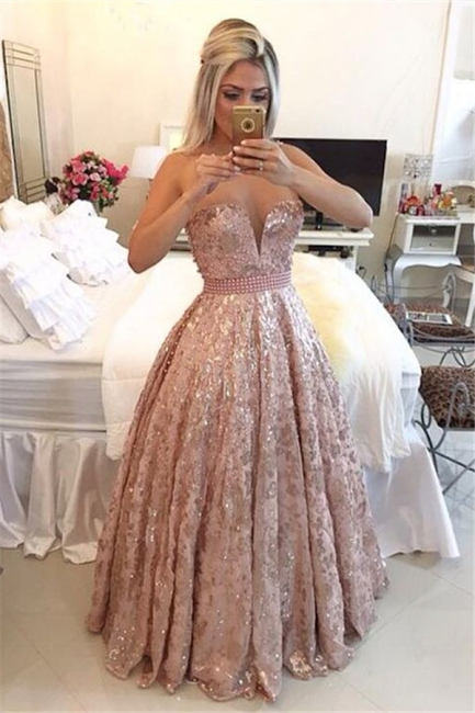 Sheer Tulle Straps Sparkly Lace Prom Dresses Pearls Pink Sweet 16 Quinceanera Dress  BA3677