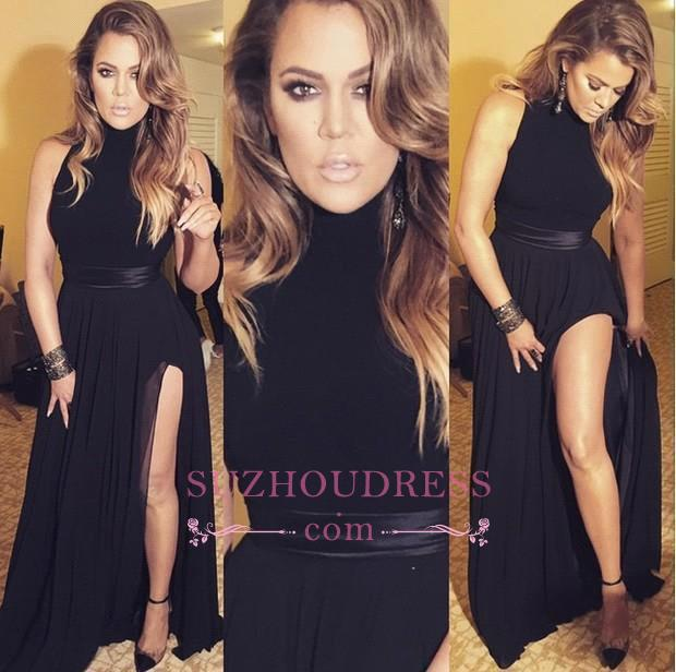 High Neck Latest Black Evening Gowns Sexy Chiffon Long Split Formal Dresses