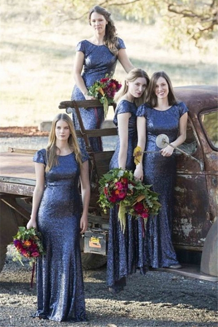 Sparkly Cap Sleeve Blue Sequins Bridesmaid Dresses   Open Back Long Dresses for Maid of Honor