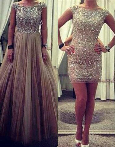 Puffy Tulle Skirt Sparkly Crystals Prom Gowns  Long Evening Dresses