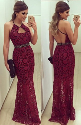 Halter Lace Backless  Evening Gowns Latest Floor Length Party Dresses