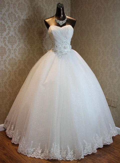 Lace-Up Sweetheart Ball Gown Princess Bridal Dresses Strapless Lace Charming Wedding Gowns