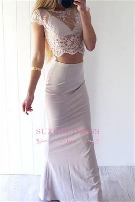 Two Pieces Lace Prom Dress Long Sheath Sexy Cap Sleeves  Evening Gowns