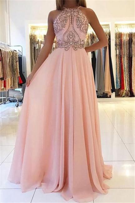Open Back Pink Evening Dresses  | Beads Crystals Chiffon Long Prom Dress  AN0009