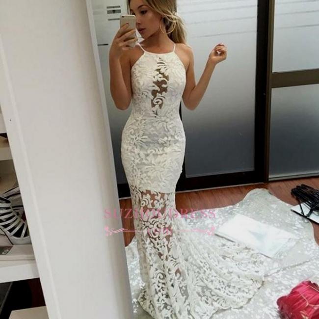 Elegant Long Mermaid Lace Evening Dress | Jewel White Prom Dresses