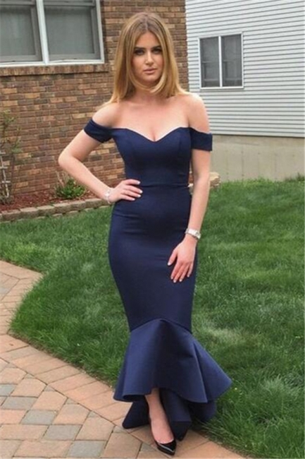 Navy Sheath Evening Dresses Off The Shoulder Sexy Open back Prom Gown BA3493