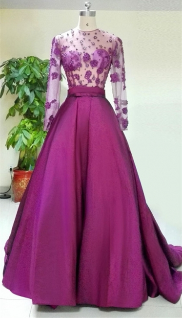 A-Line Purple Long Sleeve Prom Dress Beading New Arrival Tulle Evening Dress with Train