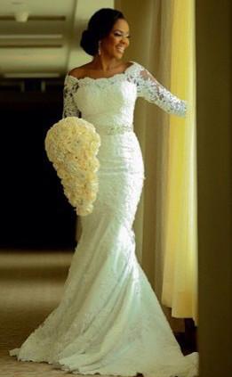 Vintage Long Sleeve Mermaid Lace Wedding Dress Crystal Latest Long Plus Size Bridal Gowns BA0645