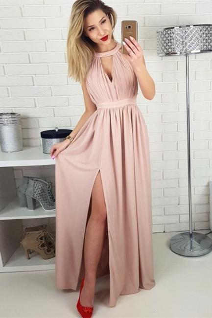 Simple A-line Sleeveless Evening Dresses    Side Slit Ruffles Party Dresses