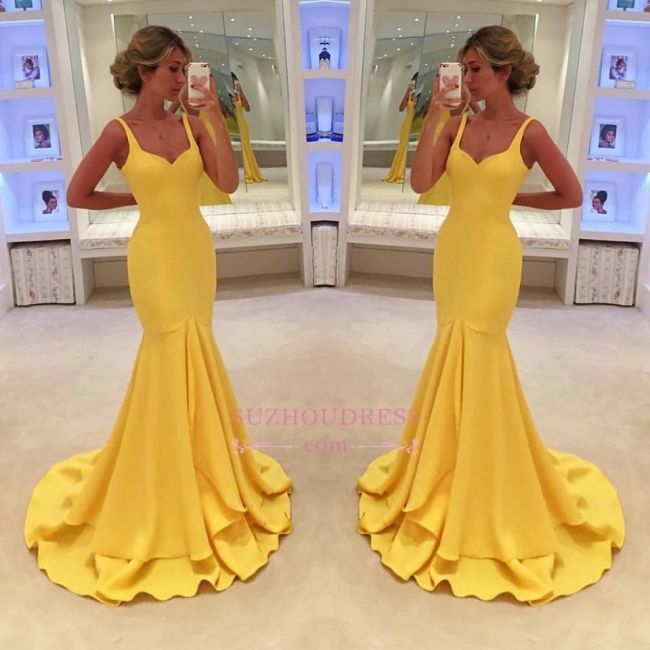 Mermaid Tiered Simple Spaghetti-Straps Yellow Prom Dress BA4070
