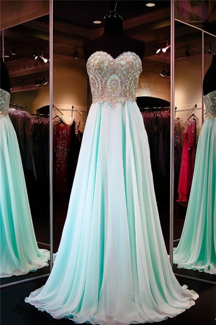 Pretty Chiffon Prom Dress Sweetheart Sequins Beads Evening Dresses