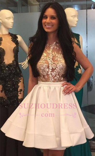 Puffy-Skirt Sheer High-Neck Pretty Appliques Lace Mini Homecoming Dresses