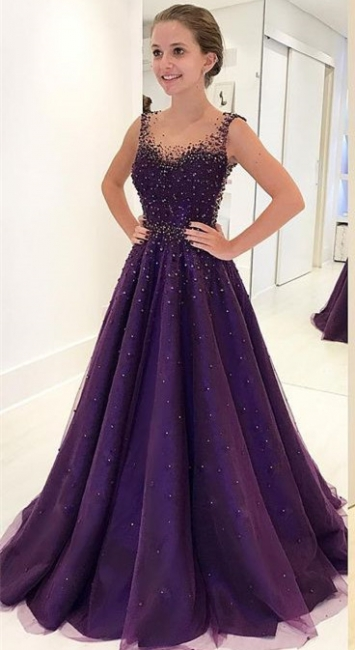 Grape A-line Sleeveless Prom Dresses  Crystal Sheer-Tulle Evening Gowns