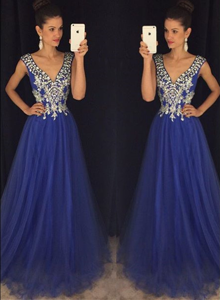 Gorgeous A-Line Plunging Neck Evening Gown Latest Crystal Sweep Train  Prom Dress