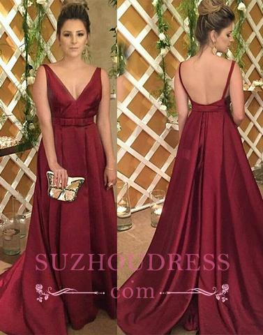 V-Neck Backless Sleeveless Burgundy Satin Evening Dress