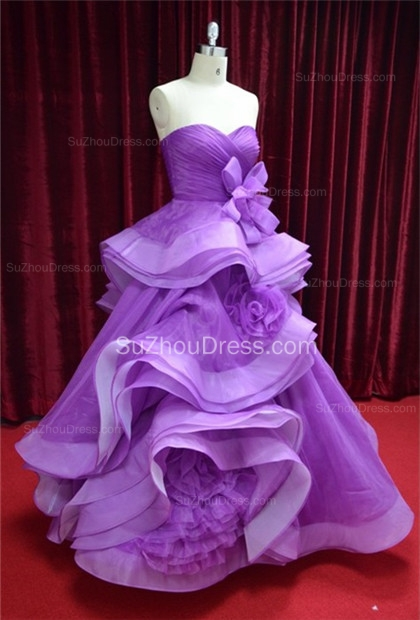 Sweetheart Organza Quinceanera Dresses  Floor Length Ruffle Prom Gowns with Handmade Flower