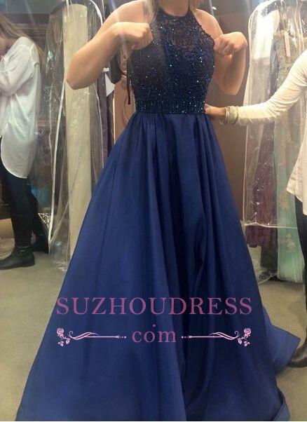 Ruffles Dark-Navy-Blue Halter Neck Beading A-line Prom Dresses