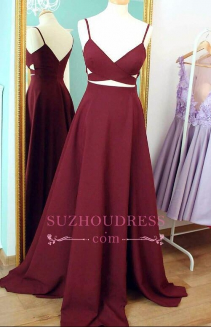 A-line Sweep Train Sleeveless Sexy Evening Gowns Spaghetti Strap  Prom Dress BA4374