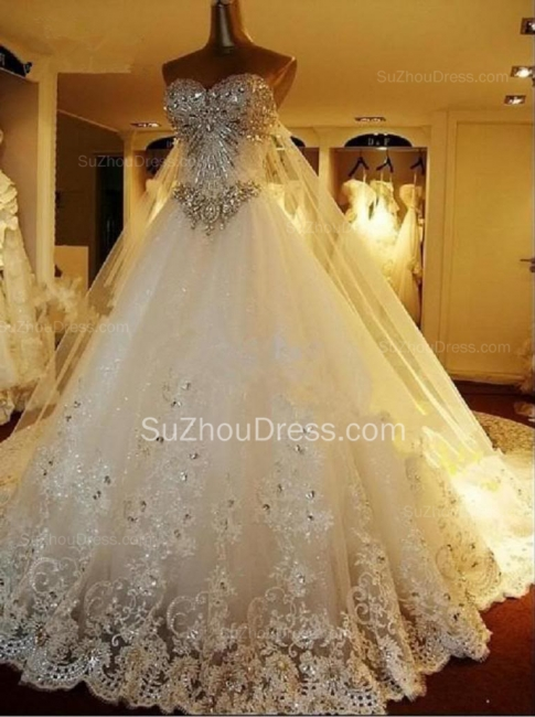 Gorgeous Bridal Dresses Sweetheart Appliques Crystal Beading  Elegant A Line  Wedding Gowns