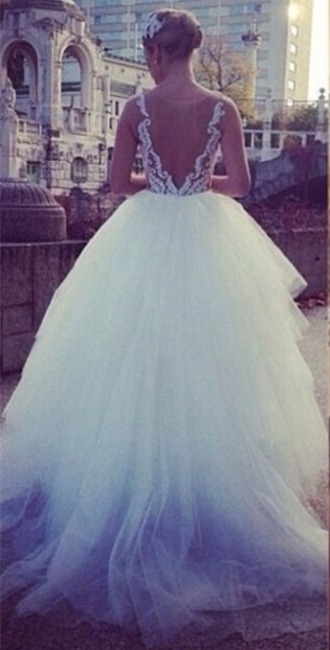 Pure White Princess Ball Gown Wedding Dress Sheer Nude Tulle Bridal Gwons with Pearls TB0310