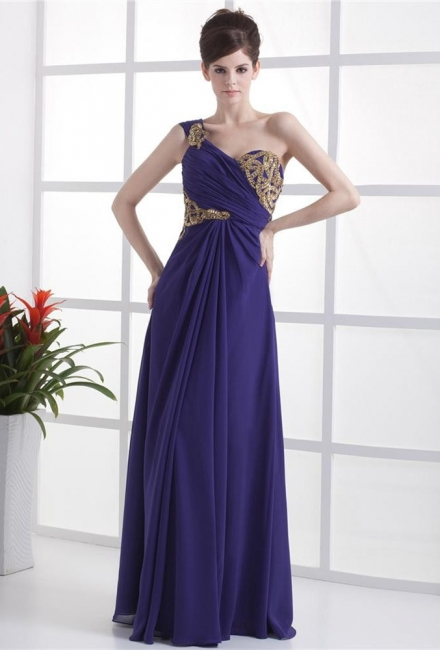 Elegant Prom Dresses  One Shoulder Sleeveless A Line Floor Length Appliques Beading Pleats Backless Evening Gowns