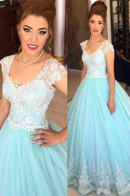 Baby Blue Lace Cap Sleeves Evening Dress  Princess Tulle Formal Ball Dress BA7241