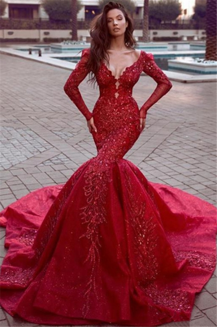Gorgeous Red Long Sleeve Mermaid Prom Dress With Lace Appliques
