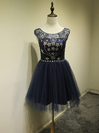 Cute Blue Tulle Mini Cocktail Dresses with Beadings Short Elegant Open Back Fashionable Dresses for Juniors
