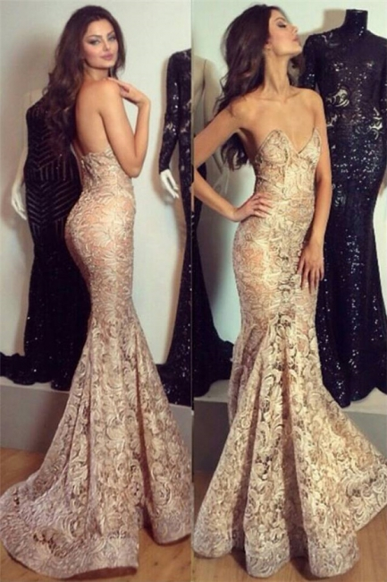 Stylish Sexy  Evening Dress Mermaid with Lace Appliques Charming Party Dress BO7341