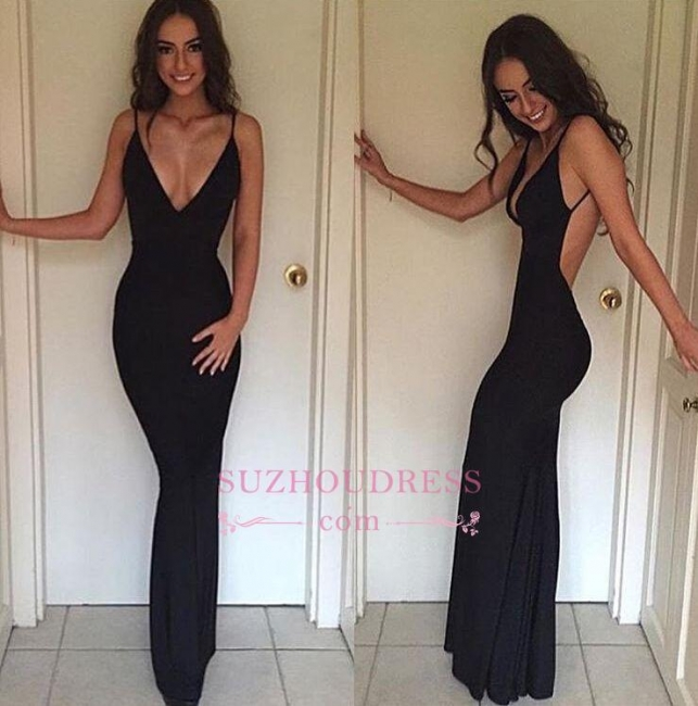 Sexy Sheath Summer Evening Dress Spaghetti Straps Backless  V-neck Party Gowns BA3668