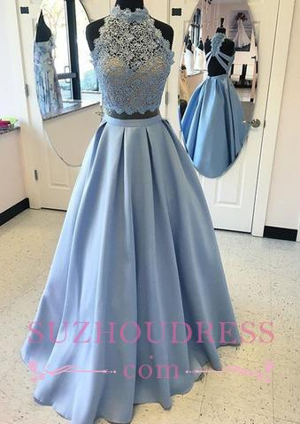 A-line Two-pieces Long  High-neck Lace Blue Prom Dress