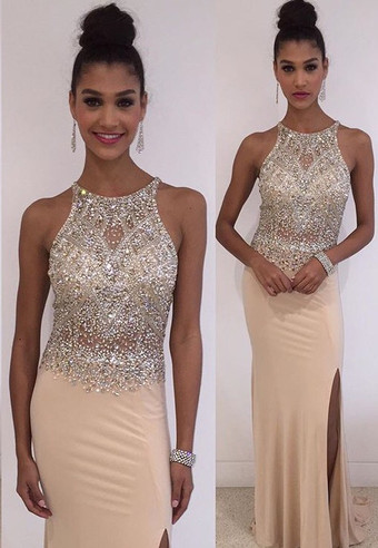 New Arrival Crystal Sleeveless Prom Dresses Side Slit Floor Length Party Gowns BA3098