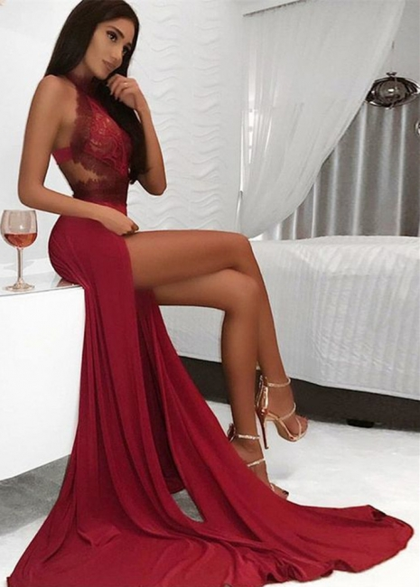 Sexy High Neck Lace Burgundy Prom Dress Sexy Slit Open Back Evening Dresses with Appliques