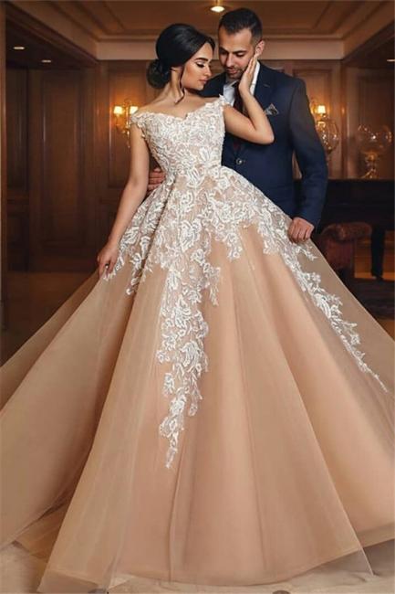 Gorgeous Champagne Appliques Wedding Dresses  | A Line Off-the-shoulder Bridal Gowns