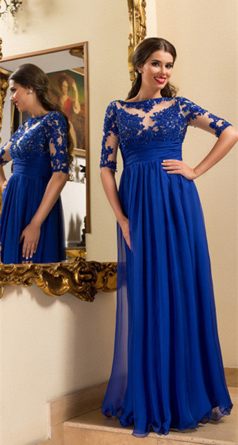 A-line Empire Royal Blue Evening Gown Crystal Half Sleeve Chiffon Prom Dresses