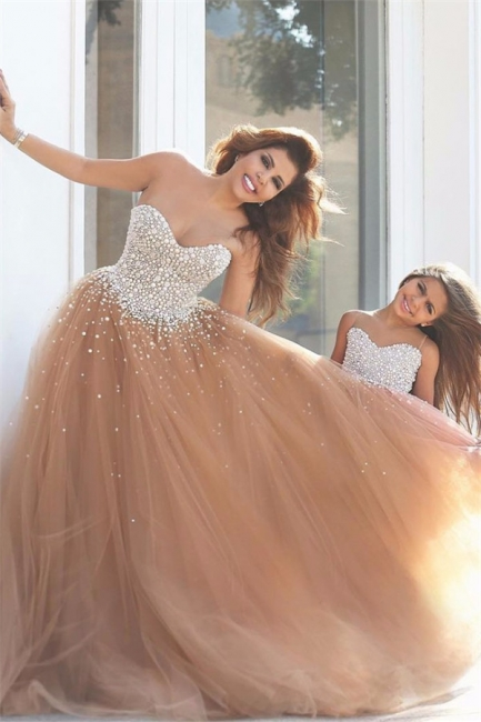 Elegant Sweetheart Tulle Prom Dresses Tulle Evening Dresses with Beadings
