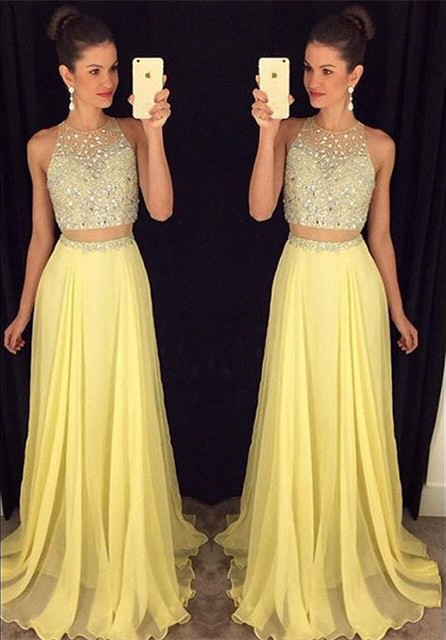 Cute Two Piece Major Beading Prom Dess New Arrival Chiffon Formal Occasion Dresses GA017