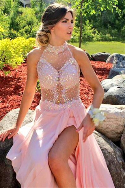Sequins Halter Prom Dresses With Slit Chiffon Backless Evening Gowns CE061
