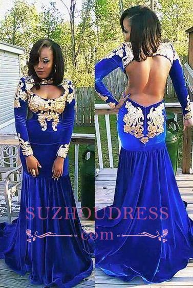 Royal Blue Evening Dress Appliques Gorgeous Long Sleeve Zipper Mermaid  Velvet Prom Dress