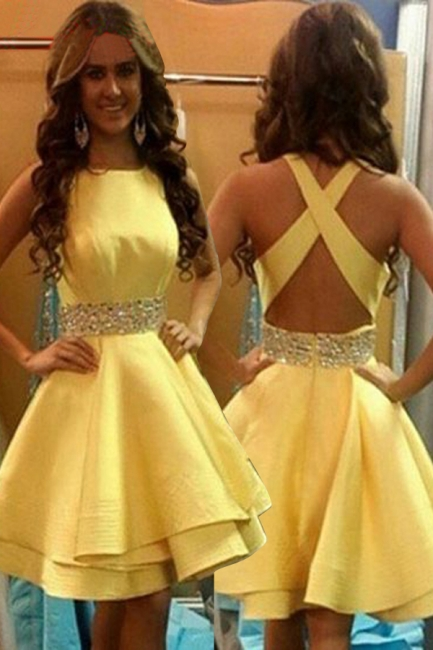 A-Line Crystal Yellow Short Cocktail Gowns Crossed Back Mini  Homecoming Gowns