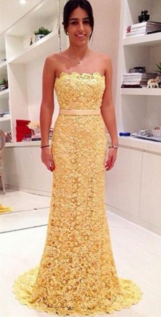 Yellow Elegant Strapless Lace Evening Dress Sheath Bowknot Sweep Train Prom Dresses