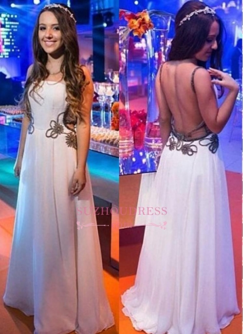 A-line White Backless Floor-length Chic Evening Dress
