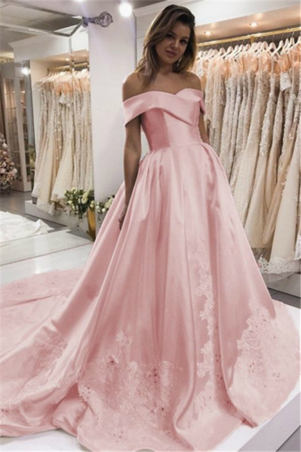 Pink Puffy Off the Shoulder Evening Dresses | Appliques Beaded Formal Dress