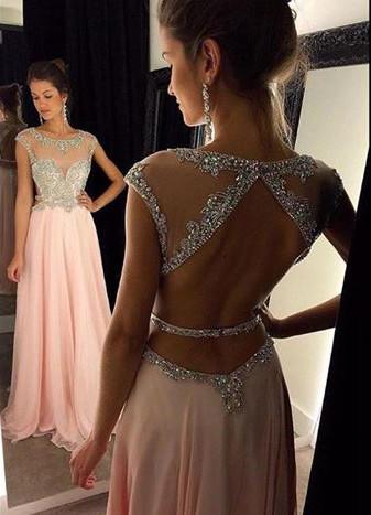 New Arrival Halter Chiffon  Prom Dress A-Line Open Back Floor Length Evening Gown GA030