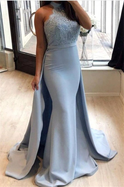 Sexy Sheath High-Neck Prom Dresses | Lace Sleeveless Eveniing Dresses with Detachable Skirt