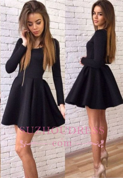 Long-Sleeves Black A-line Sexy Short Homecoming Dresses