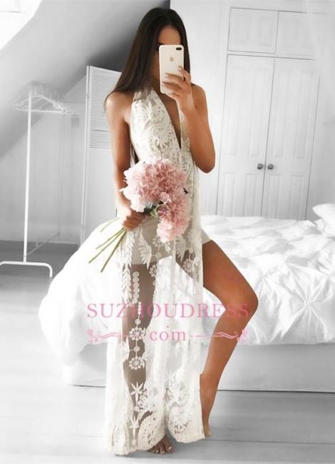 Sleeveless Lace Front Split  Formal Dress Mermaid Sexy V-neck Floor Length Evening Dress