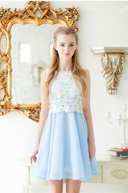 Baby Blue Chiffon White Lace Party Dresses  Lovely Sleeveless  Homecoming Dress CE0228